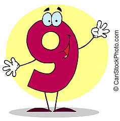Friendly Number 9 Nine Guy  - Funny Cartoon Numbers-9