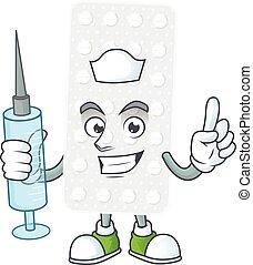Friendly Nurse pills mascot design style using syringe. ...