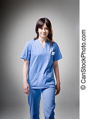 Friendly nurse walking