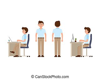 Friendly office worker sitting at the desk, standing