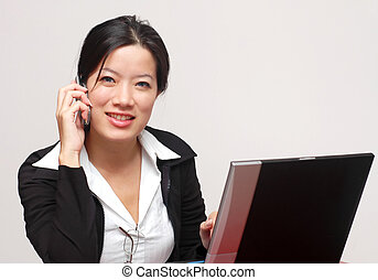 Friendly operator - A friendly woman worker