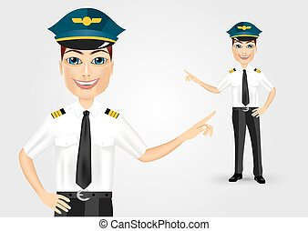 friendly pilot showing something - portrait of young...