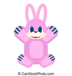 Friendly Rabbit Soft Toy Isolated Illustration - Pink...