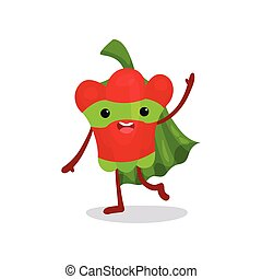 Friendly red pepper walking and waving hand, dressed in superhero costume with cape and mask