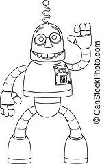 Friendly Robot Kids Coloring Cartoon Character