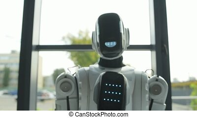 Friendly robotic machine waving hello - Hello friend....