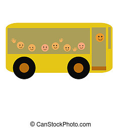 friendly school bus - yellow school bus and people on white...