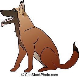 Vector illustration of a friendly, sitting and obedient shepherd dog