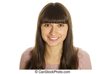 Friendly Smile - Close-up of an attractive young woman with...