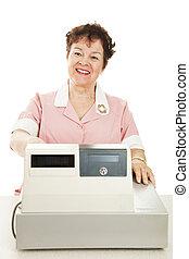 Friendly Smiling Cashier