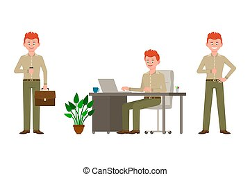 Friendly, smiling, red hair young office man in green pants vector illustration. Standing with coffee cup, typing on laptop, sitting at desk boy cartoon character set