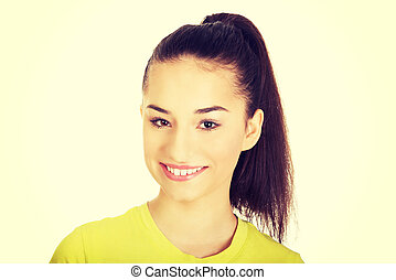 Friendly smiling young woman.
