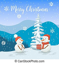 Friendly Snowmen in a santa hat. Smiling Frosty with a gift box. Snowwoman. View of of Winter landscape