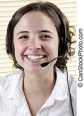 friendly staff member during a telephone conversation