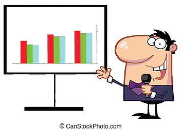 Friendly Talk Show Host Man Beside A Bar Graph Board