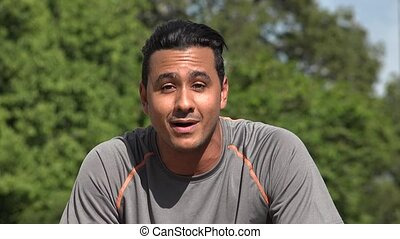 Friendly Talking Athletic Hispanic Adult Male