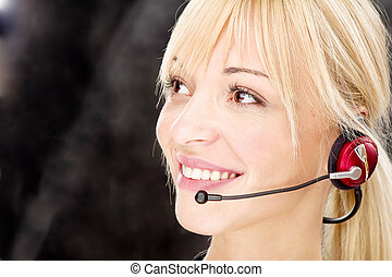 friendly telephone operator - Blond woman as a telephone...