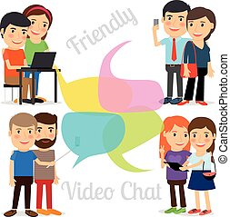 Friendly video chat or Video conference. People video online meeting on different devices. Vector iluustration