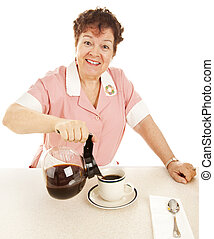 Friendly Waitress Pours Coffee
