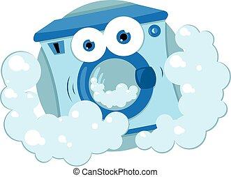 Friendly Washing Machine - A vector cartoon representing a ...