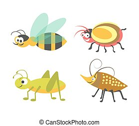 Friendly wasp, ridiculous beetle, vigorous grasshopper and bug with carapace