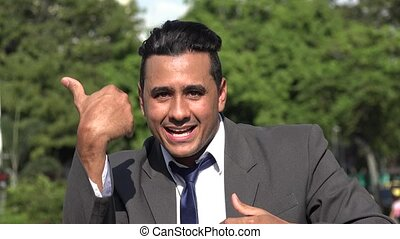 Friendly Welcoming Hispanic Business Man