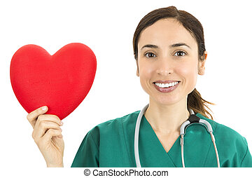 Friendly woman doctor showing heart