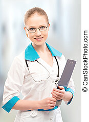 friendly woman doctor smiling with