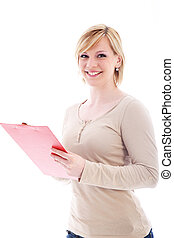 Friendly woman holding a red folder
