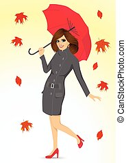 friendly woman holding an umbrella