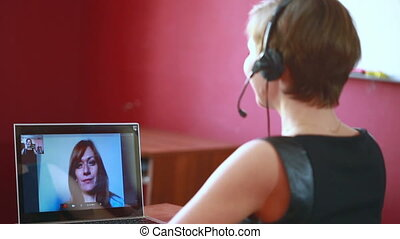 woman leading online video consultation. telework concept -...