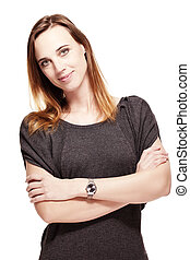 friendly woman with folded arms on white background