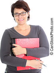 Friendly woman with red folder