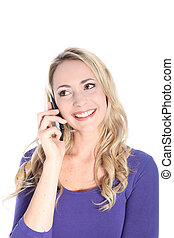Friendly Young Blonde Woman with Cell Phone