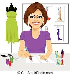 designer drawing dress design sketches