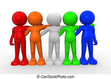Friends - 3d people - human character , person of different...