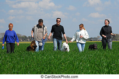 friends and dogs