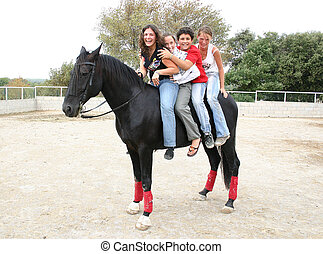 friends and horse