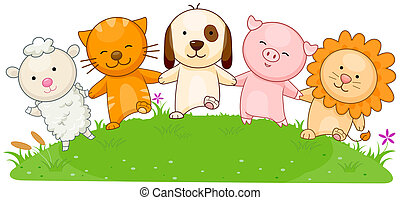 Animals walking holding hands with Clipping Path