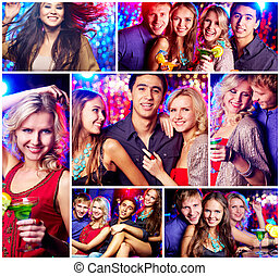 Friends at party - Collage of happy friends having party