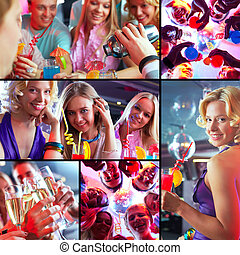 Friends at party - Collage of joyous guys and girls having a...