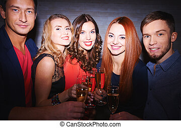 Friends at party