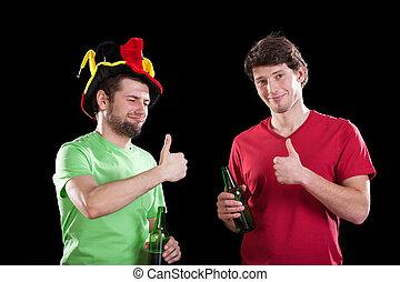 Friends before football match
