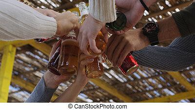 friends, bier, spaß, party, trinken, sandstrand, haben