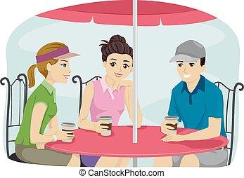 friends, binden, aus, bohnenkaffee