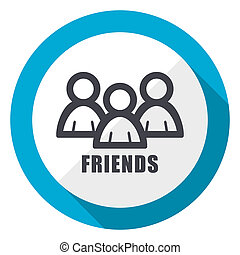 Friends blue flat design web icon