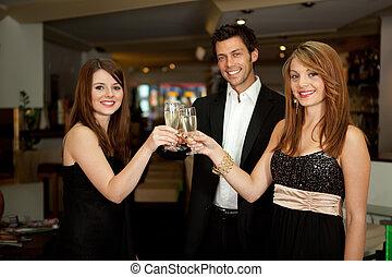 Friends celebrating