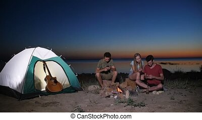 Friends checking cellphones on camping trip - Group of...