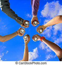 Six Friends Cheers with Beer Cans at Summer Party