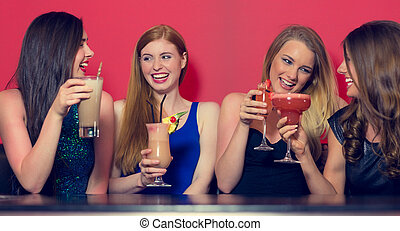 friends, cocktails, vier, haben, besitz, party